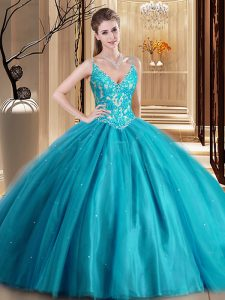 Graceful Spaghetti Straps Sleeveless Lace Up Vestidos de Quinceanera Teal Tulle