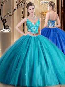 Spaghetti Straps Sleeveless Tulle Quinceanera Gown Beading and Lace and Appliques Lace Up