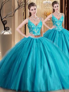 Sexy Teal Spaghetti Straps Lace Up Beading and Lace and Appliques Sweet 16 Quinceanera Dress Sleeveless