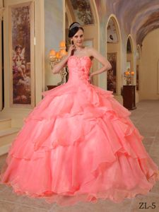 Watermelon Sweetheart Organza Beading Dress for Quince in Metz France