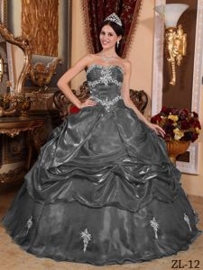 Dark Gray Organza Appliques Dress for Quince in Toulouse France