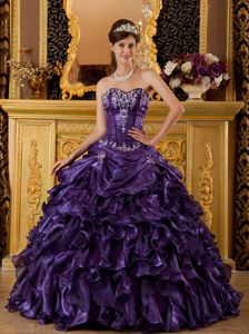 Townsville Pieces Ruffles and Boning Details Sweet 15 Dresses in Purple