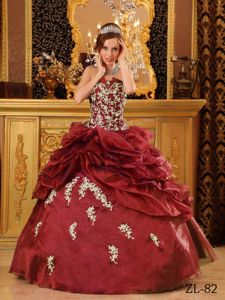 Wine Red Dresses for Quinceanera Gown with Appliques and Ruffles
