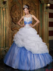 Beading and Ruffles Dress for Sweet 16 Quinceanera in White and Blue