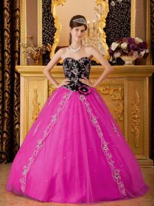 Black and Fuchsia Sweetheart Beading Quince Dress in Caloundra QLD