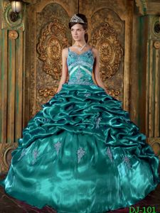 Spaghetti Straps Beading Quinceanera Dress in Turquoise with Ruffles