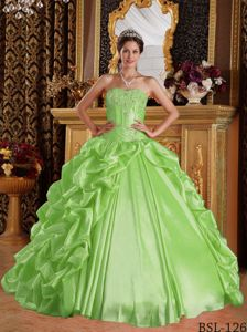 Yellow Green Sweetheart Embroidery and Ruffles Quinceanera Dress
