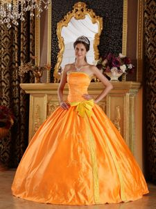 Orange Ball Gown Embroidery Quinceanera Dress Decorated Bowknot