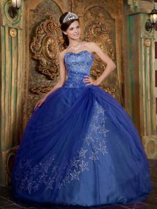 Geraldton WA Blue Quinceanera Gown Dresses with Star Appliques