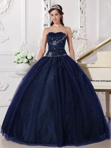 Navy Blue Rhinestone Quinceanera Gown Dresses with Lace up Back
