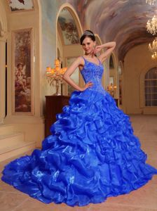 Royal Blue Spaghetti Straps Embroidery Quinceanera Dress with Brush