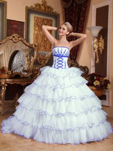 White Appliques Quince Dress with Blue Hem and Detachable Train