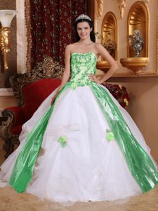 White and Green Ball Gown Beading and Appliques Dress for Quince
