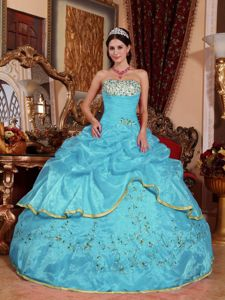Aqua Blue Floral Appliques and Ruche Quinceanera Dress with Ruffles