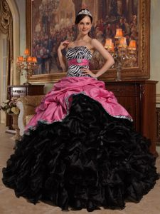 Coral Red and Black Pick-ups Quinceanera Dress with Zebra Printing