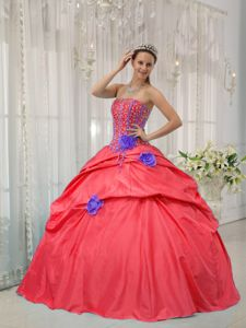 Beading and Boning Details for Flowers 15 Dresses in Watermelon Red