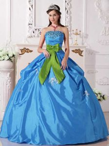 Aqua Blue Beading and Green Bow Sweet Sixteen Dress in Port Pirie SA