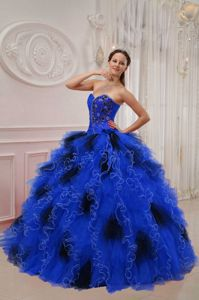 Sweetheart Quinceanera Gown with Beads Ruffled in Black and Blue