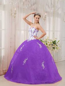 Applique White and Purple Sweetheart Quinceanera Gown in Falkirk