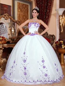 White Strapless Quinceanera Dress with Embroidery in Galashiels