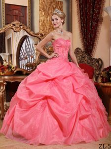 Watermelon Pick-ups Organza Appliques Quinceanera Gowns Dresses