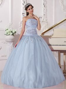 Taffeta and Tulle Light Blue Beading Strapless Quinceanera Dress
