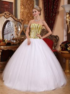 Tulle White Strapless Quinceanera Dress with Gold Sequins Cheap