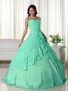 Apple Green Chiffon Sweetheart Sweet Sixteen Dresses with Beads
