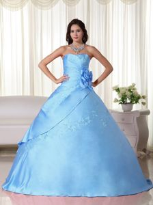 Aqua Blue Taffeta Beaded Ball Gown Quinceanera Dress in Flitwick