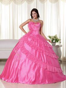 Hot Pink Taffeta Strapless Dress For Quinceanera with Embroidery