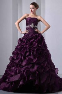 Beaded Dark Purple Taffeta and Organza Quinceanera Dress Ruffled