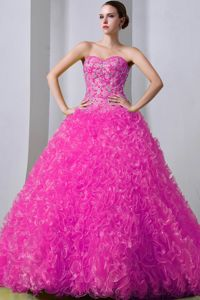 Hot Pink Beading A-Line Ruffled Quinceanera Gowns in West Linton