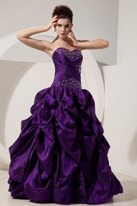 Eggplant Purple Sweetheart Princess Beads Quinces Dress for 2013