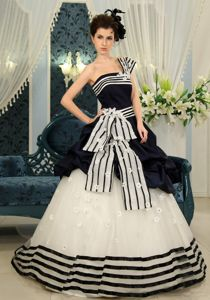 Organza Navy Blue And White Pick-ups Quinceanera Gown in Selkirk