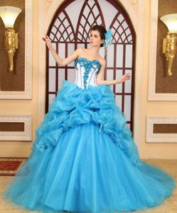 Sweetheart Bead Chapel Train Aqua Blue Pick-ups Quinceanera Gown