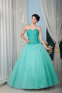 Ruched Turquoise Sweetheart A-line Beading Dress For Quinceanera
