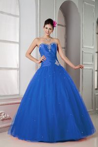 Tulle Blue Ball Gown Hot Sweetheart Dress For Quinceanera Beaded