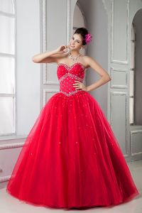 Sweetheart Red Tulle Beaded Sweet 15 Dresses in Earlston Borders