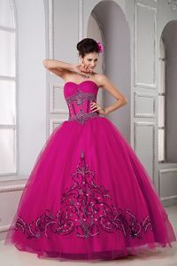 Fuchsia Beading Sweetheart Tulle Quinceanera Dress in Coldstream