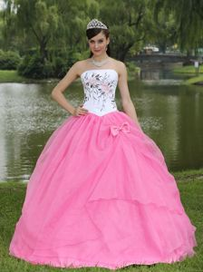 Strapless Embroidery Rose Pink Dress For Quinceanera in Warstein