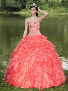 Orange Red Sweetheart Ruffled Layers Quinceanera Dresses Beaded