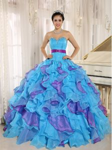 Appliques Multi-color Ruffled Sweet Sixteen Quinceanera Dresses