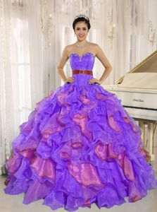 Multi-color Sweetheart Appliques Quinceanera Gown Dress Ruffled