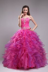 Appliques Fuchsia Sweetheart Organza Sweet 15 Dresses for Cheap