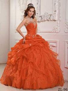 Beaded Organza Orange Red Ruffles Layered Quinceanera Dress 2013