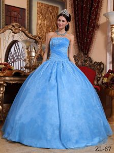 Aqua Blue Sweet 15 Dresses with Appliques in Ravensburg Germany