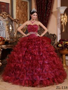 Organza Wine Red Sweetheart Quinceanera Gown Beaded in Mannheim