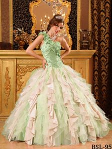 Multi-Color One Shoulder Ruffles Quinceanera Dress with Beadings
