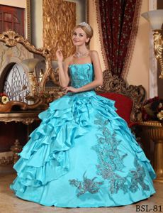 Taffeta Aqua Blue Appliques Quinceanera Gown Dress with Ruffles