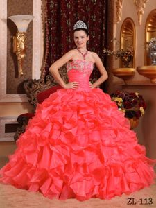 Appliques Coral Red Organza Quinceanera Dresses Beaded in Lorch